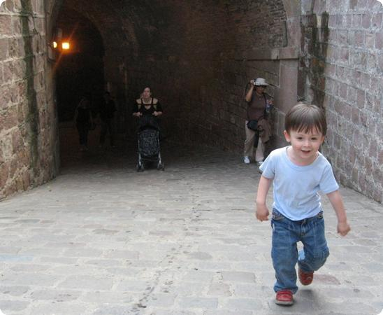 E hiking up the entrance ramp at Montjuic Castle in Barcelona