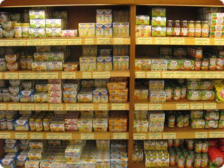Baby food in selection in Spain