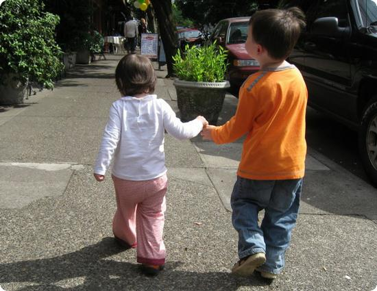 Toddlers Holding Hands in Portland