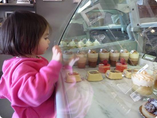 D is as enamored of the pastry case at Scratch Pastries as I am
