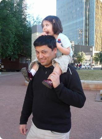 Enjoying Extra Time With Daddy in Downtown Tucson