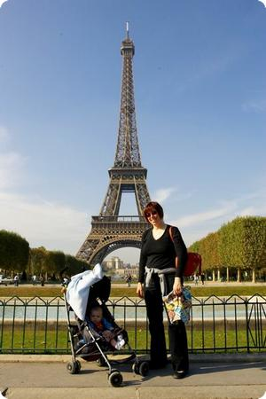 Mom, Baby and Stroller at the Eiffel Tower