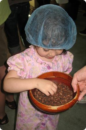 D with her hands in the cocoa beans at Theo Chocolate Factory