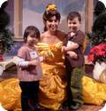 E and D meet Belle for the first time at a Disney Mom Blogger's Event