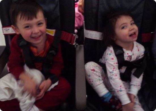 E and D enjoying their flight