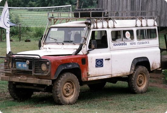 Demining vehicle in Bang Melay, Cambodia