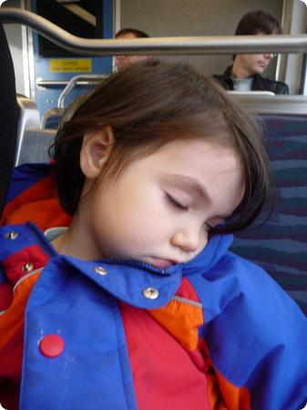 D asleep on the Seattle Light Rail
