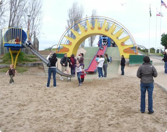 Sunshine bridge and rollerslide at Dennis The Menace Park in Monterey, CA