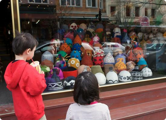 Window Display of Felt Hats in Istanbul