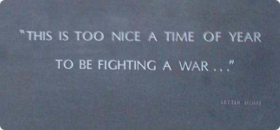 Quotation on the war memorial wall