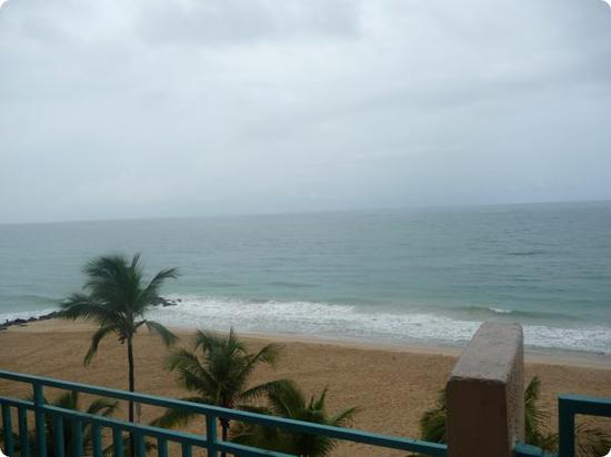 "View from a ""Ocean Front Room"" at the San Juan Marriott Resort"
