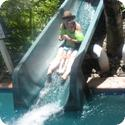 Everest and I slide down the waterslide together