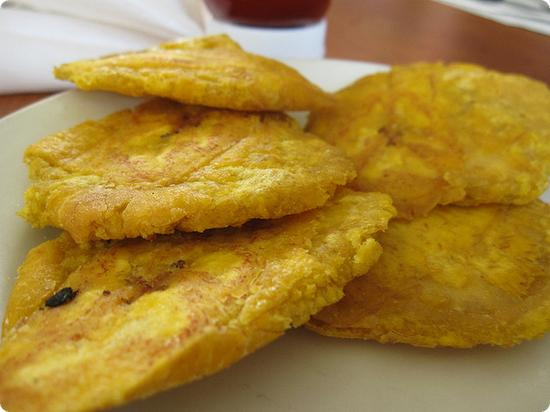 Tostones (squished, fried plantains) are a typical Puerto Rican side dish