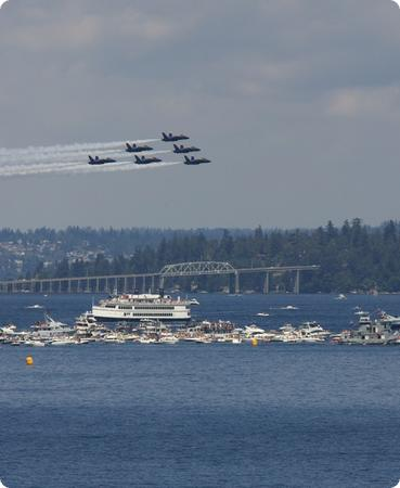 Blue Angels fly in formation over Seattle's Lake Washington