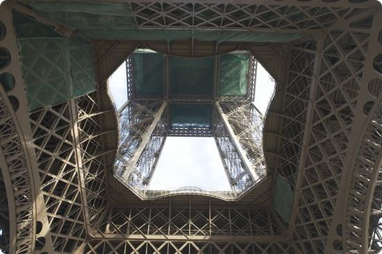 Eiffel Tower in Paris from underneath