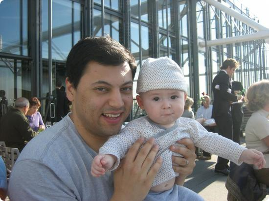 Everest and Daddy enjoy lunch at the Georges Restaurant on top of Pompidou Centre
