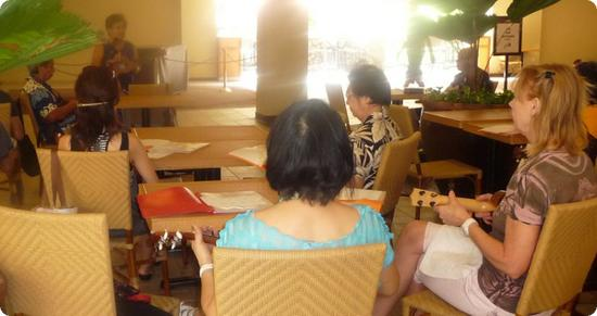Ukulele lessons at the Royal Hawaiian Center in Honolulu