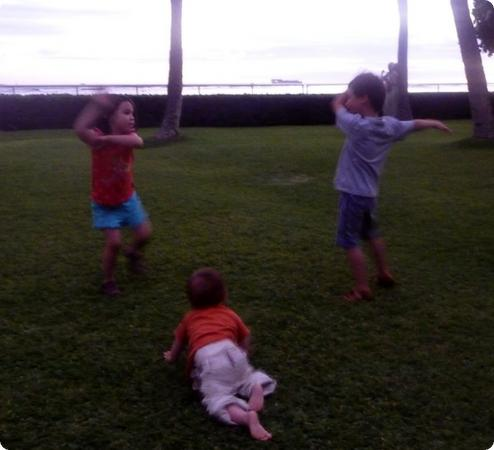 Everest, Darya and Eilan practice their hula moves at House Without a Key in Honolulu