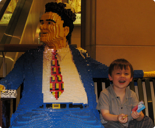 Everest makes a new friend at the Chicago Lego Store