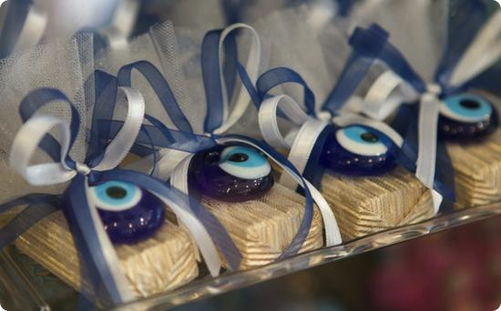 Candies adorned with amulets to ward off the evil eye in Turkey