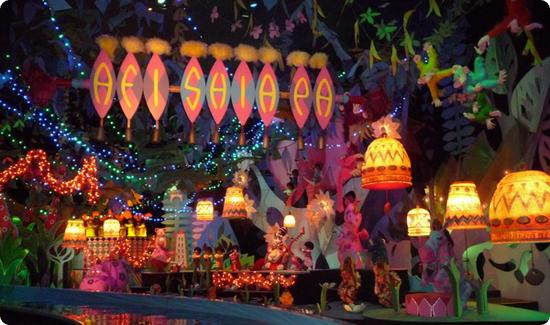 """it's a small world"" decorated for the holidays"