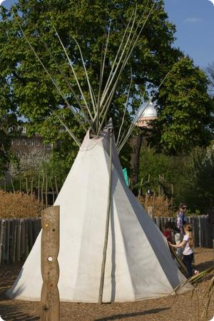 Teepees inside Princess Diana Memorial Playground