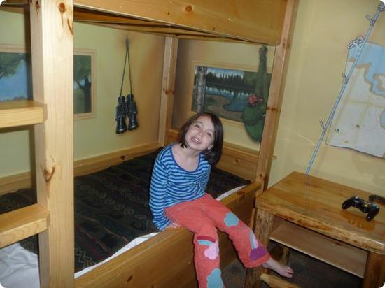 Darya in a bunk bed at Great Wolf Lodge