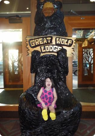 Darya asks for a posed shot at the Great Wolf Lodge in Grand Mound, WA