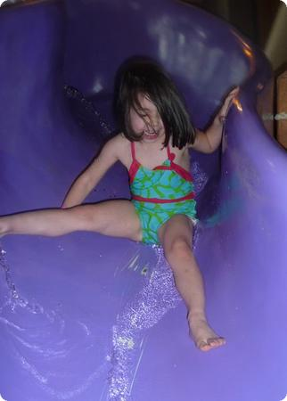 Darya enjoys a waterslide at Great Wolf Lodge in Grand Mound, WA