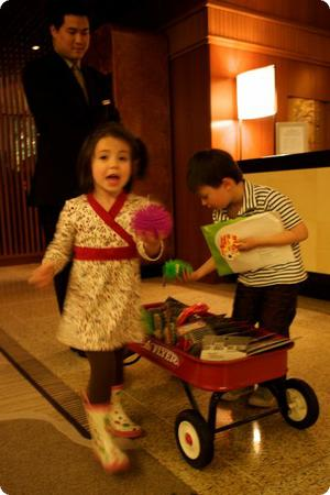 The kids pick a welcome gift at the Four Seasons Vancouver