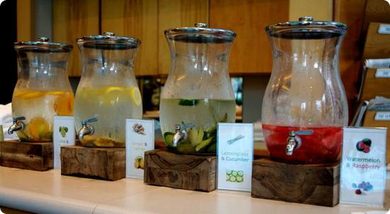 I loved this selection of flavored water poolside at the Four Seasons Vancouver