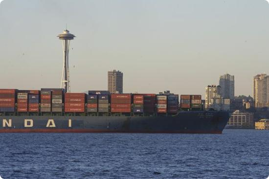 View of the shipping corridor from Alki Beach in Seattle