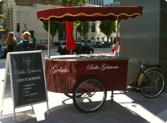 Cart outside Bella Gelateria in Vancouver, Canada