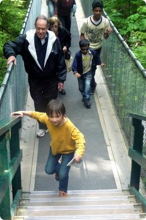 Everest races to the finish on the Capilano Suspension Bridge in North Vancouver