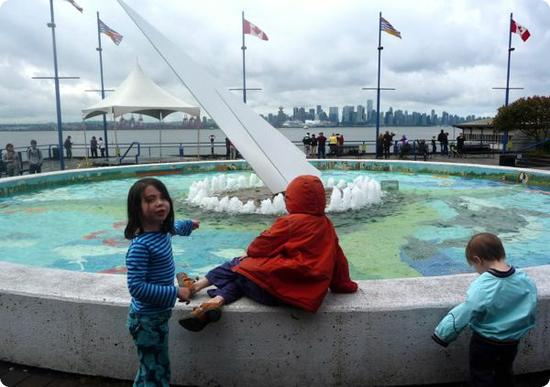 Fountain overlooking Vancouver Harbour at the Lonsdale Quay Market