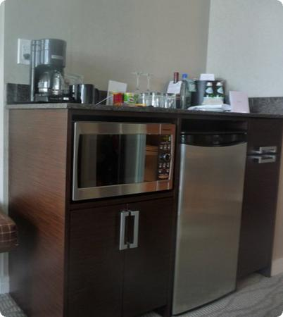 Refrigerator and microwave at the Pinnacle Hotel in North Vancouver