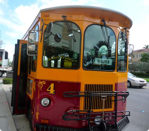 The Jolly Trolly is an easy and expensive way to get around Clearwater Beach with Kids