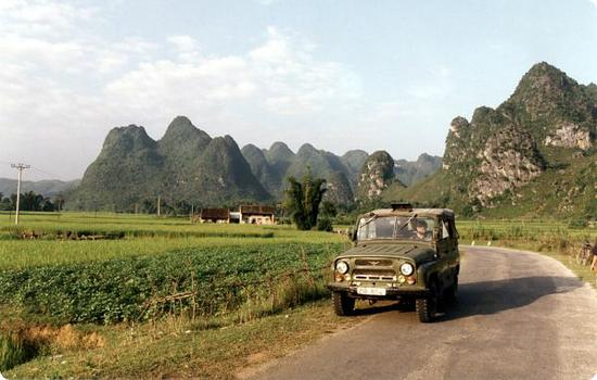 Our rented Russian Jeep in Northern Vietnam