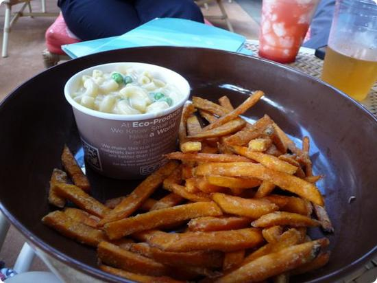 Poolside lunch (mac and cheese + sweet potato fries & milk for $6.95)