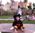 Eilan wearing his Mikey Mouse costume at Aulani Resort in Ko Olina