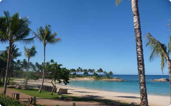 Beach at Aulani Resort on the Hawaiian Island of Oahu