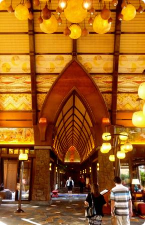 The Aulani lobby is filled with Hawaiian materials, folklore and symbolism - and there's not a Mickey Mouse in sight