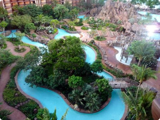 Lazy River winding through the Disney's Aulani Resort in Hawaii