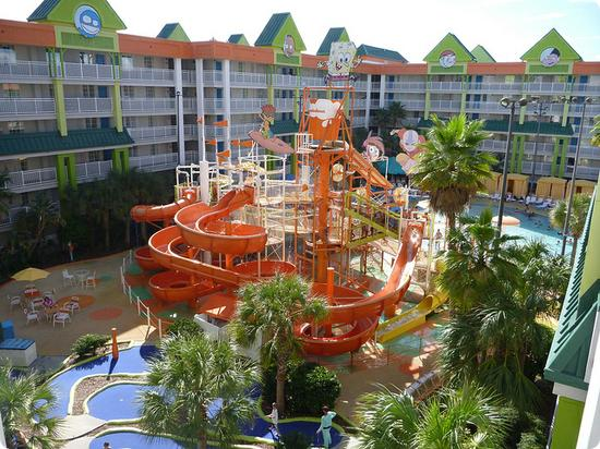 Waterslide at Nickelodean Suites Resort in Orlando Florida