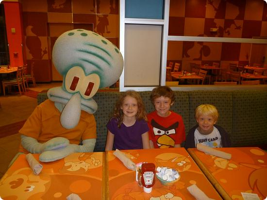 Squidward joins the kids at the Nickelodeon Suites' Character Breakfast