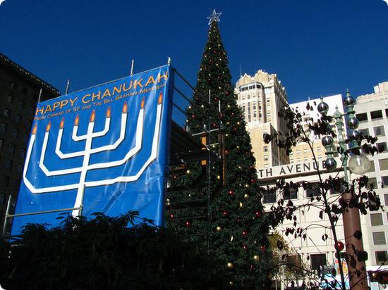 Hanukkah Menorah in San Francisco's Union Square