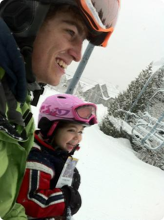 Darya and her ski instructor at Whistler Kids