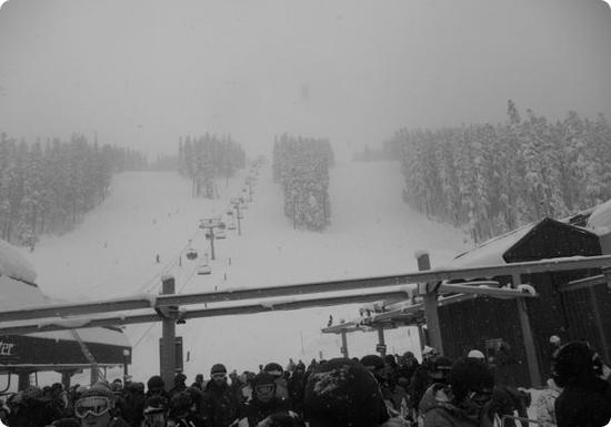 Even from the top of the first Gondola, it's a long snowy ride to the top of Blackcomb Mountain