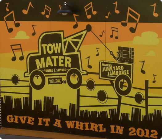 """Tow Mater"" Sign at Cars Land"