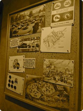 Pinboard of design concepts for Luigi's Flying Tires
